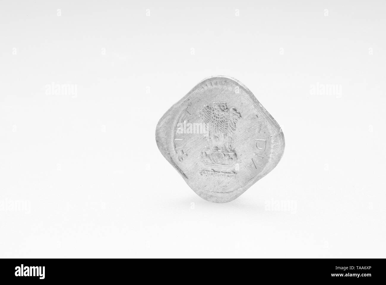 five paisa coin on white background, India, Asia, 1990 - Stock Image
