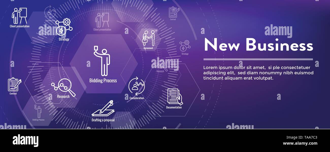 New Business Process Web Header Banner & Icon Set - Stock Image