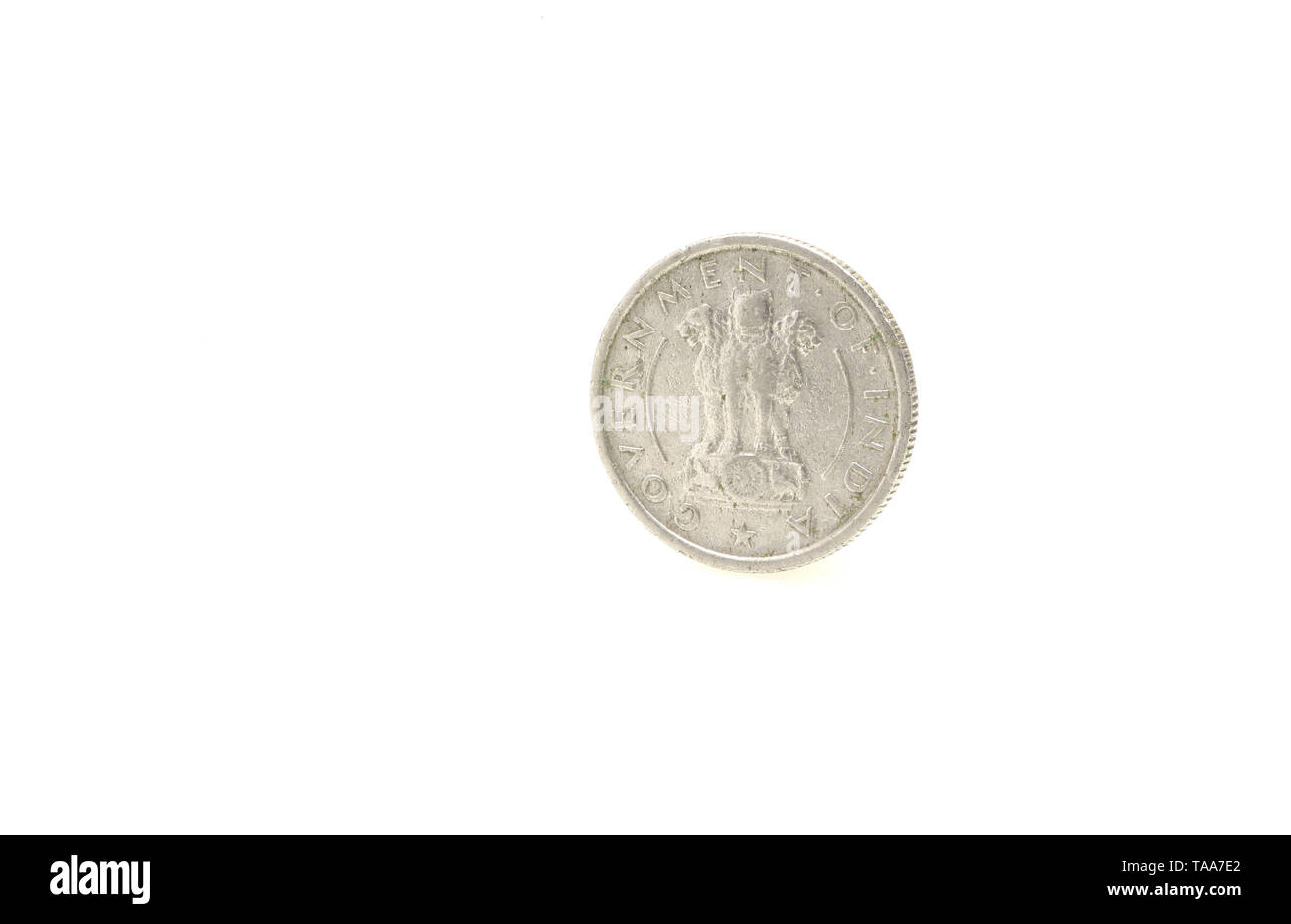 adha rupee coin on white background, India, Asia - Stock Image