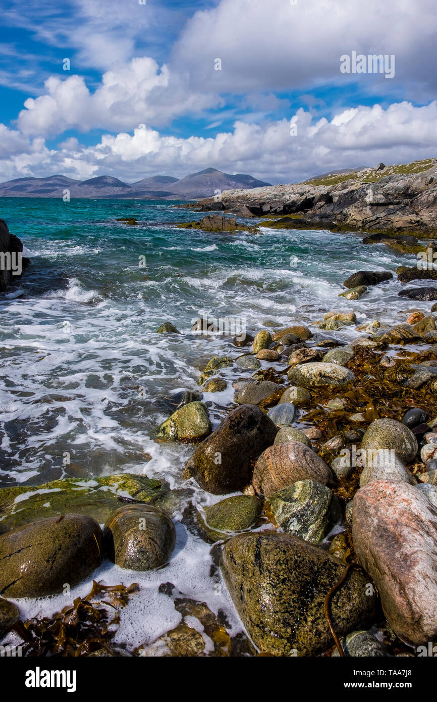 Rich textures from shoreline detail near Luskentyre, Harris - Stock Image
