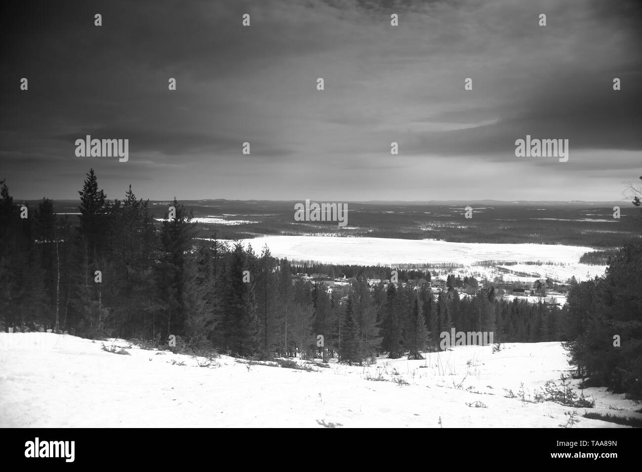 Old-fashioned black and white photo from Mount Glommersberget near Glommerstrask in Lapland, Sweden. - Stock Image