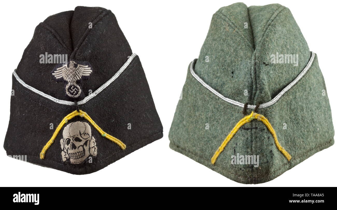 "Two garrison caps belonging to an officer of the tank signal unit The garrison cap for the black special clothing issue made of black cloth with officer's braiding around the edge, BeVo-woven insignia, lemon-yellow soutache chevron, black silk lining stamped with the size ""57"", the leather sweatband damaged in places on the forehead. The field-grey garrison cap made of field-grey cloth with officer's braiding around the edge and lemon-yellow soutache chevron, the outlines of the insignia still clearly discernible, grey lining stamped with the size ""57"" and leather sweatband, Editorial-Use-Only Stock Photo"