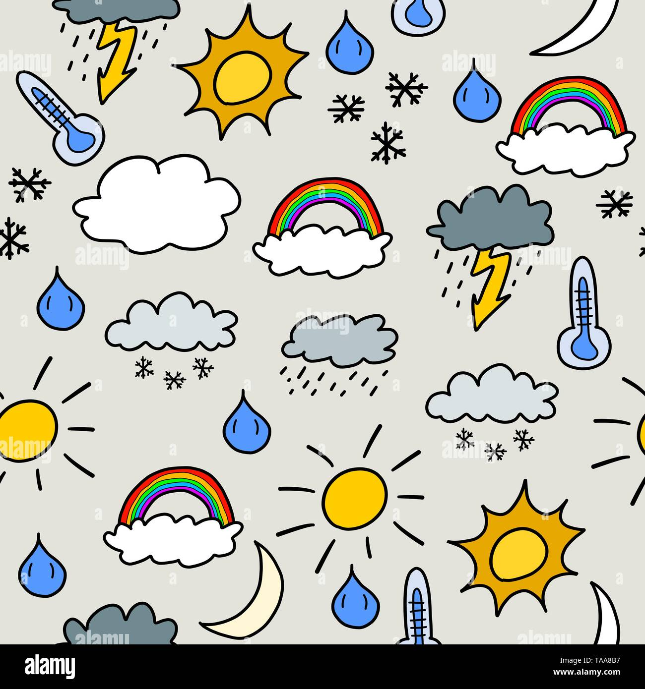 Doodle seamless background texture illustration - weather