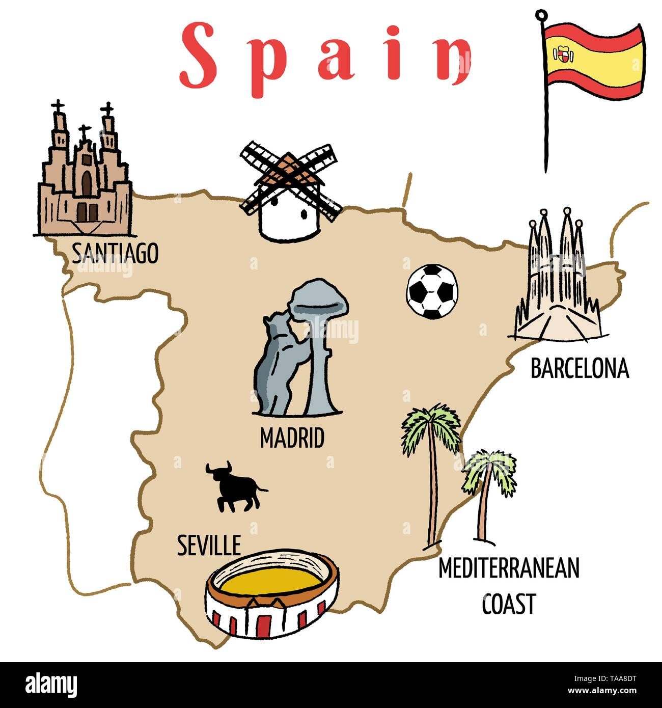 Map Of Spain Landmarks.Spain Landmarks Map Cute Doodle Vector Graphics With Madrid