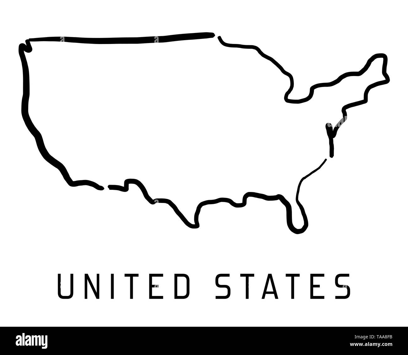 United States map outline - smooth simplified country shape ...