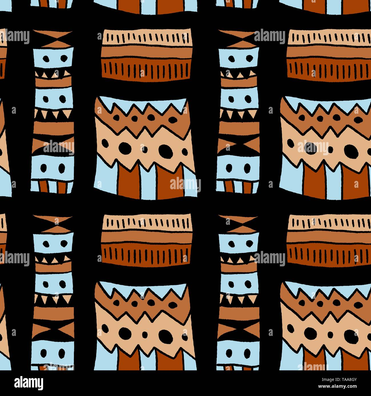 Africa tribal pattern - artistic fabric material texture. Seamless background. - Stock Image