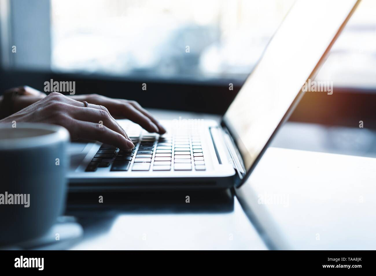woman using laptop, searching web, browsing information, having workplace at home or in creative office or cafe. Stock Photo