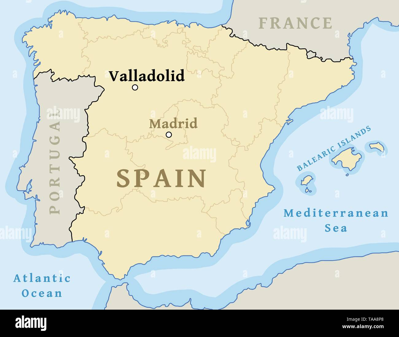 Valladolid Map Location Locate City On Map Of Spain Vector