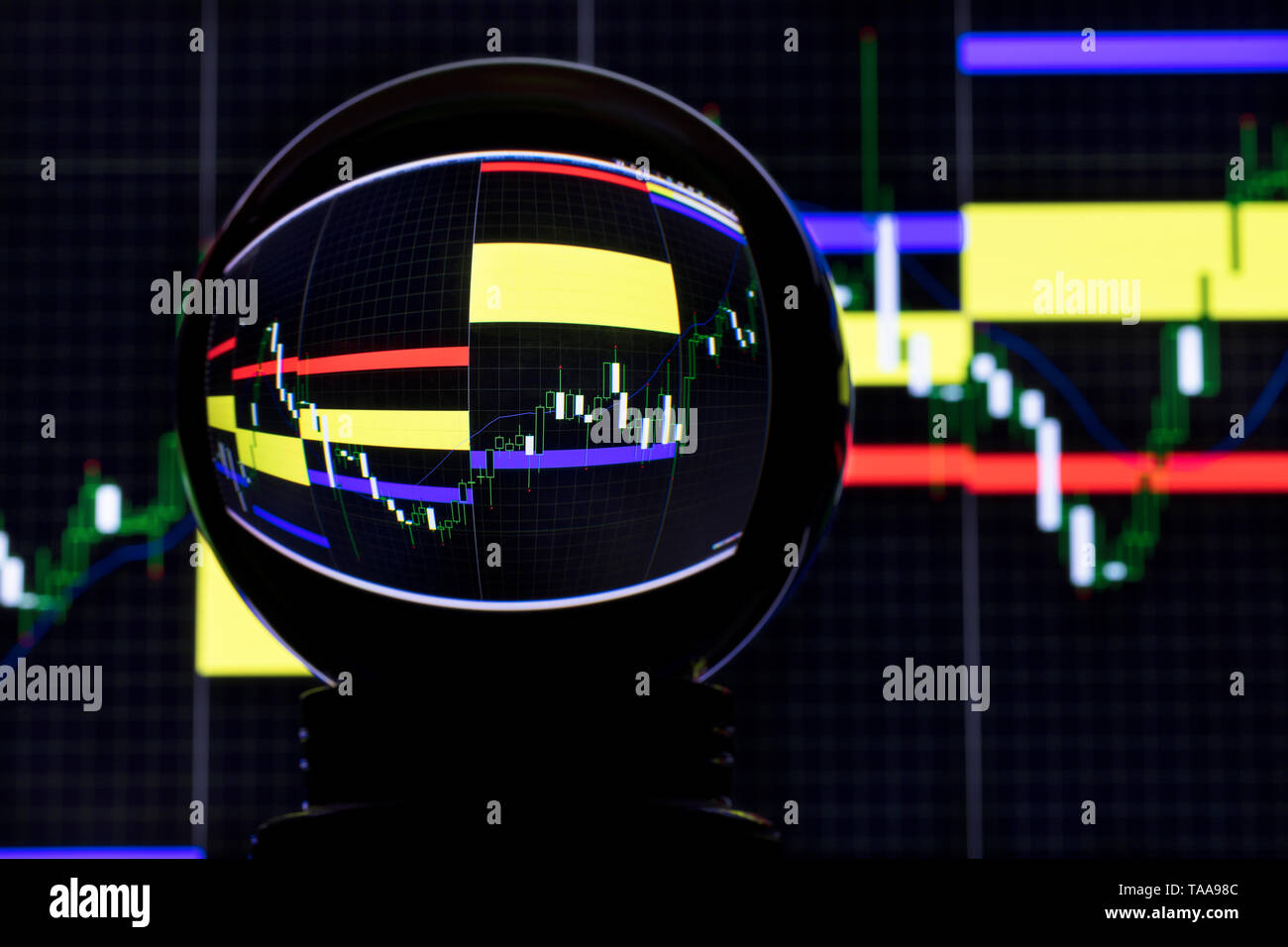 Crystal ball on the background of forex currency exchange trading - Stock Image