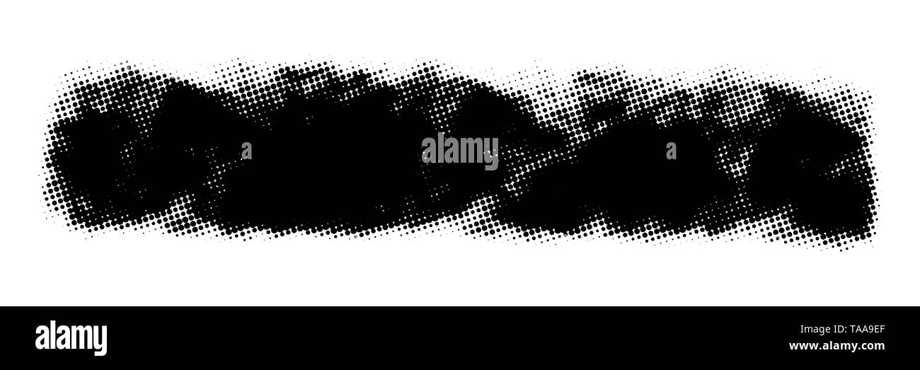 Dirtty isolated halftone basis. Artistic messy dot banner background. Paint roller distress overlay texture. Grunge design element. EPS10 vector. - Stock Image