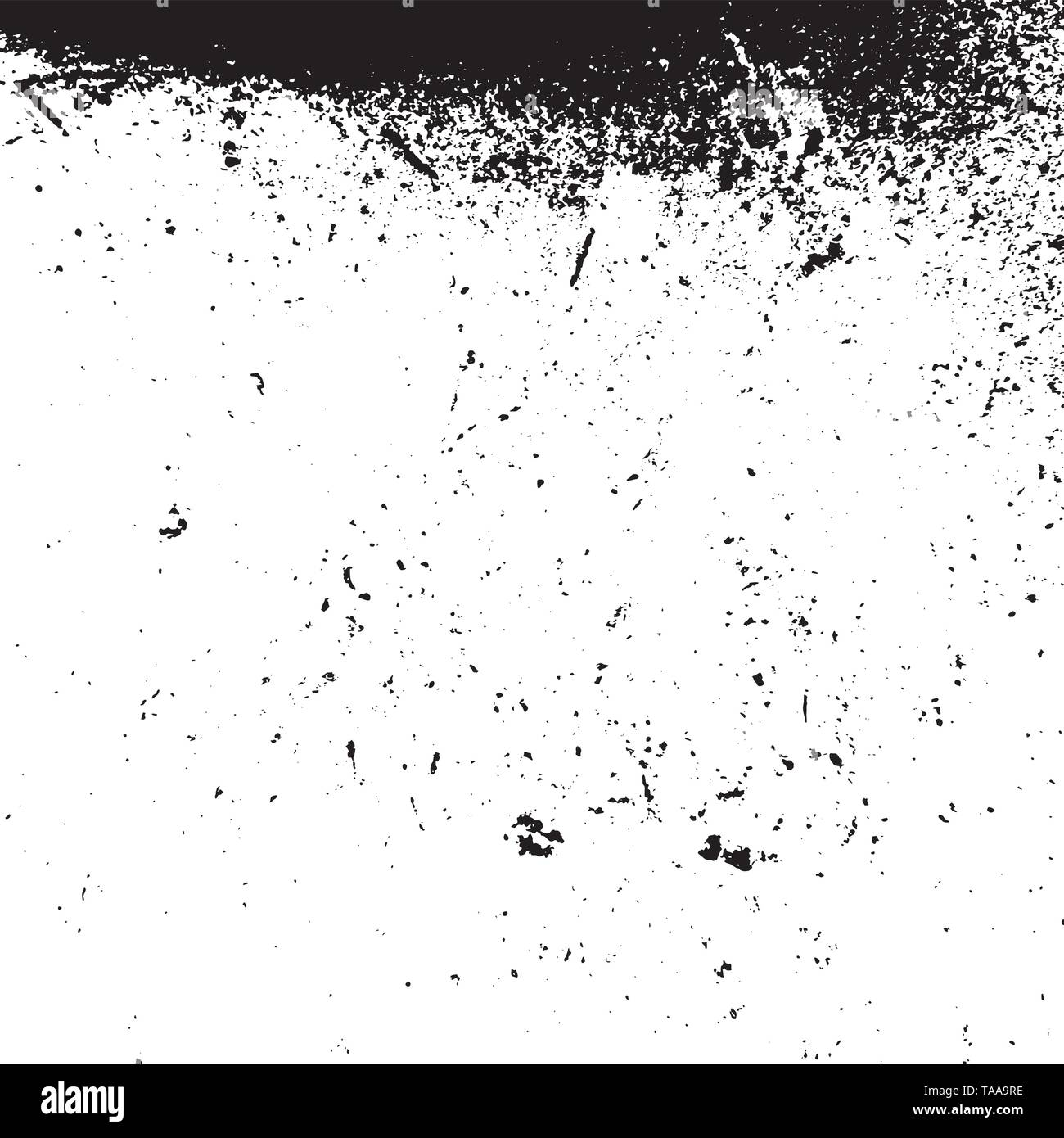 Distressed spray grainy overlay texture. Grunge dust messy background. Dirty powder rough empty cover template. Aged splatter crumb wall backdrop. Wea - Stock Image