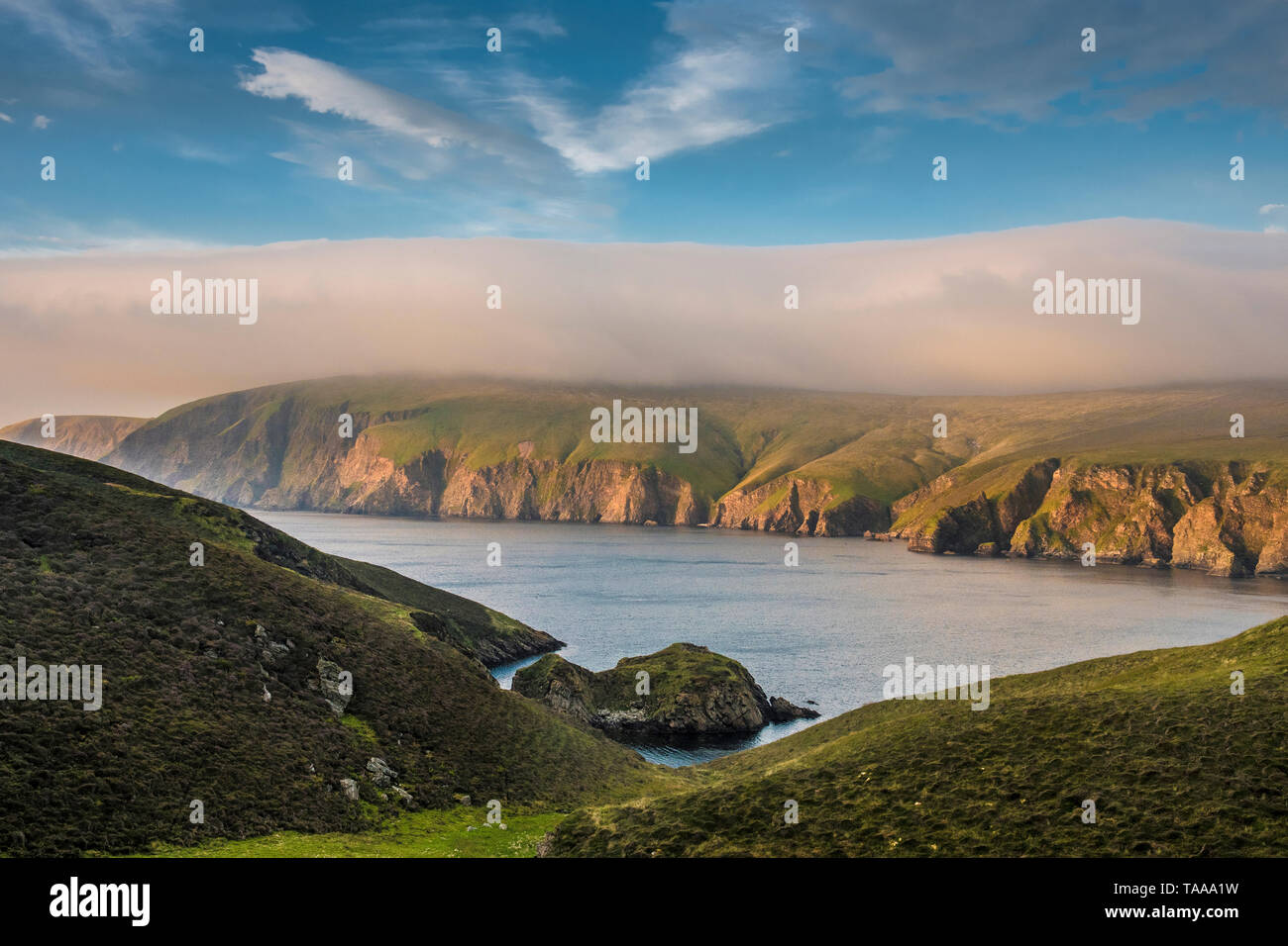 Burra Firth and Saxa Vord, Unst, Shetland - Stock Image