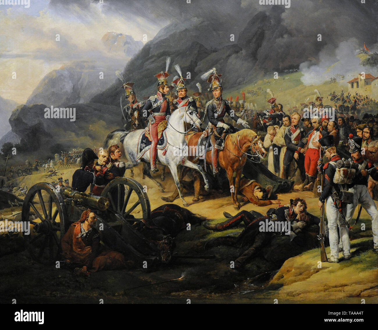 Wincenty Krasinski (1782-1858). Polish General. Wincenty Krasinski in the Somosierra Gorge, 1816. Painting by Horace Vernet (1789-1863). National Museum. Warsaw. Poland. Stock Photo
