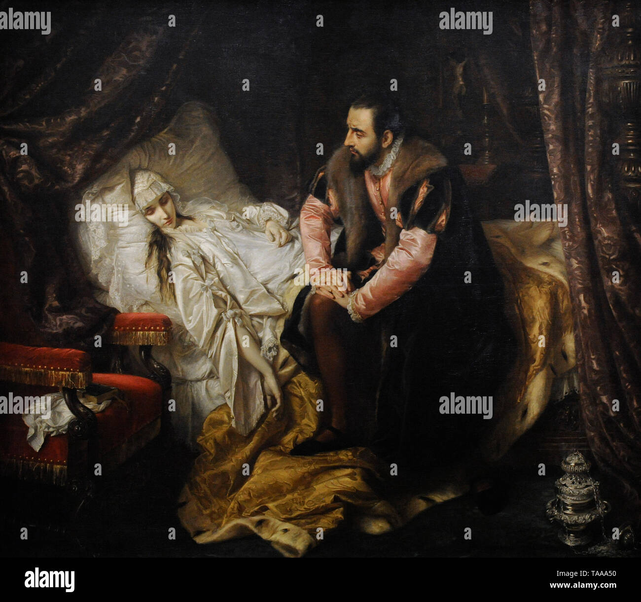 Barbara Radziwill (1520-1551). Queen of Poland. The Death of Barbara Radziwill, 1860, by Jozef Simmler (1823-1868). National Museum. Warsaw. Poland. - Stock Image