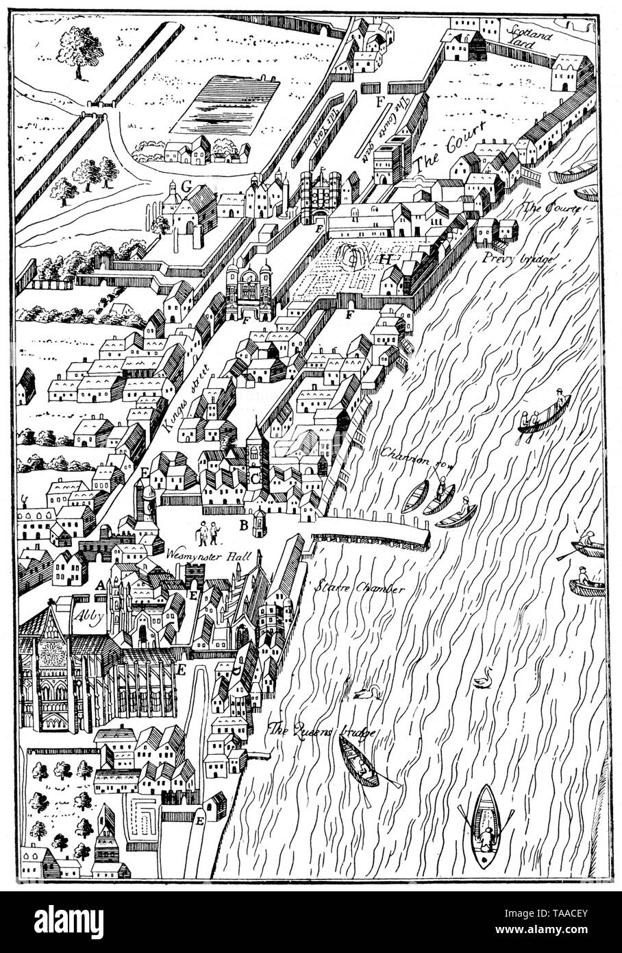 Plan of part of the City of Westminster, taken from Agas' Map of London, Civitas Londinium, 1578. Possibly by Ralph Agas (c1540-1621). This view of the Thames also features Westminster Abbey and the original Palace of Westminster. - Stock Image