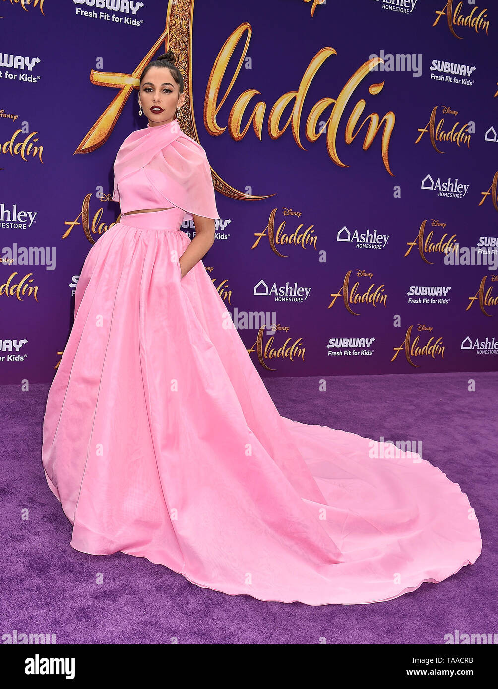 LOS ANGELES, CA - MAY 21: Naomi Scott attends the premiere of Disney's 'Aladdin' at El Capitan Theatre on May 21, 2019 in Los Angeles, California. - Stock Image