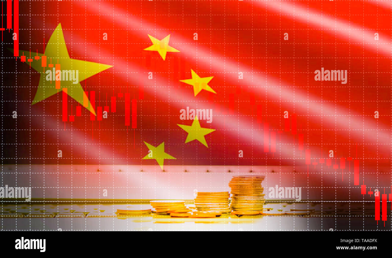China flag candlestick graph background Stock market exchange analysis / indicator of Trading graph chart business finance money investment with gold  - Stock Image