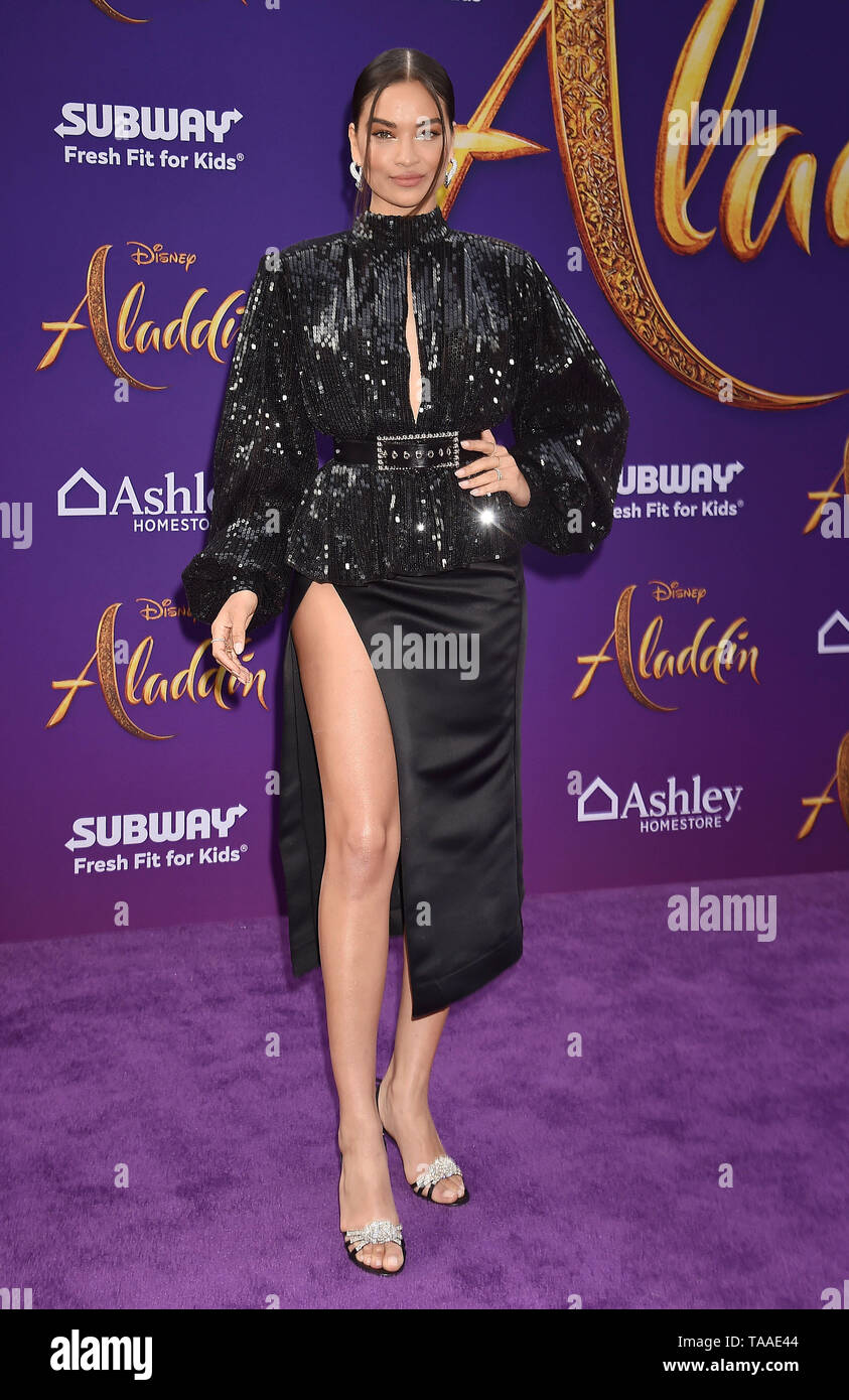 LOS ANGELES, CA - MAY 21: Shanina Shaik attends the premiere of Disney's 'Aladdin' at El Capitan Theatre on May 21, 2019 in Los Angeles, California. - Stock Image