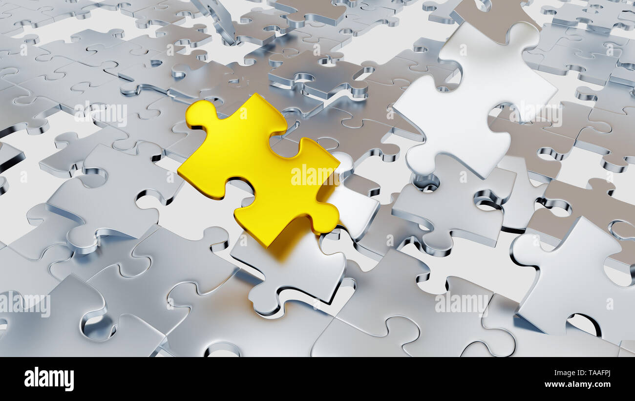 Several Chaotic Grey Puzzle pieces with many holes and one big gold piece with a white background - Stock Image