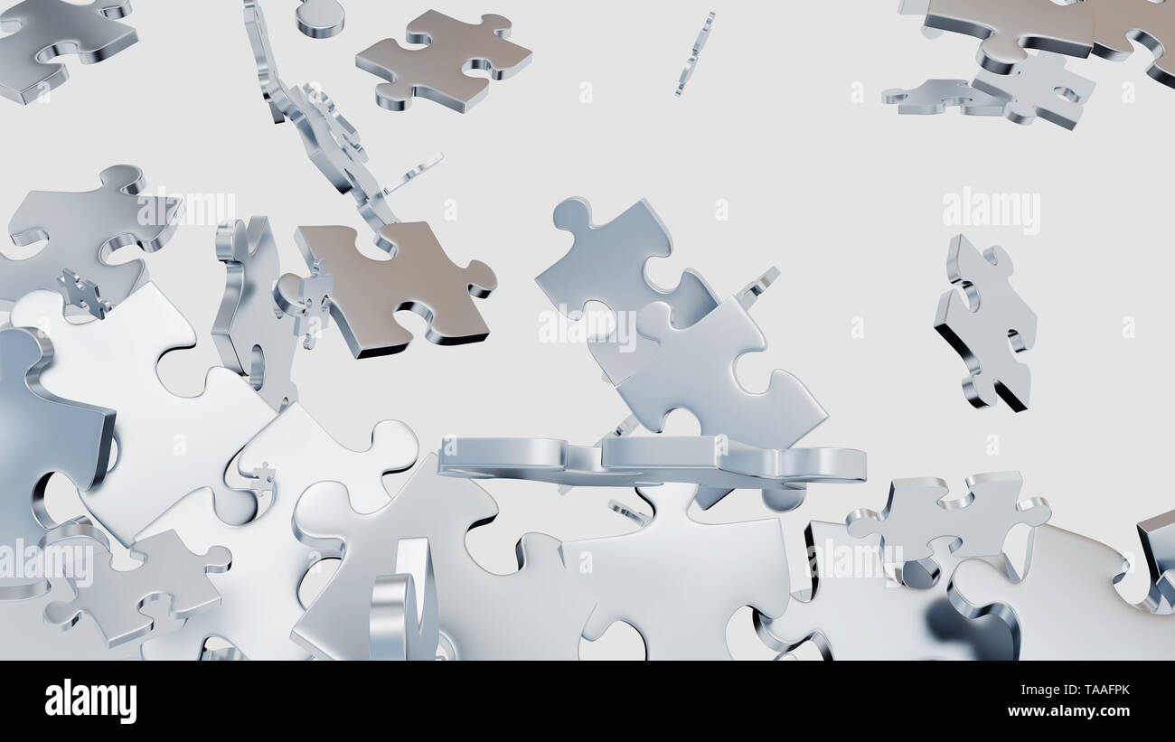 Several Grey Puzzle pieces scattered with a white background - Stock Image
