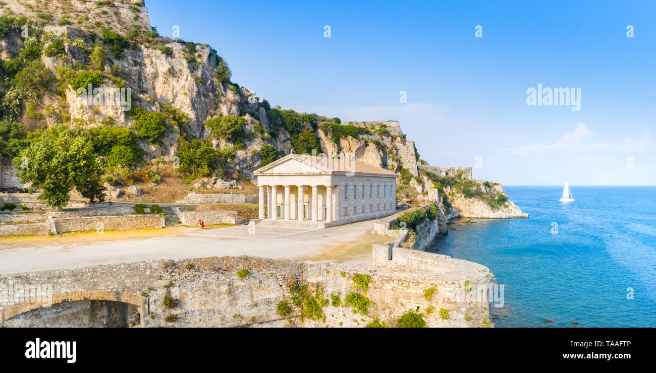 Hellenic temple and old castle at Corfu, Ionian Islands, Greece - Stock Image