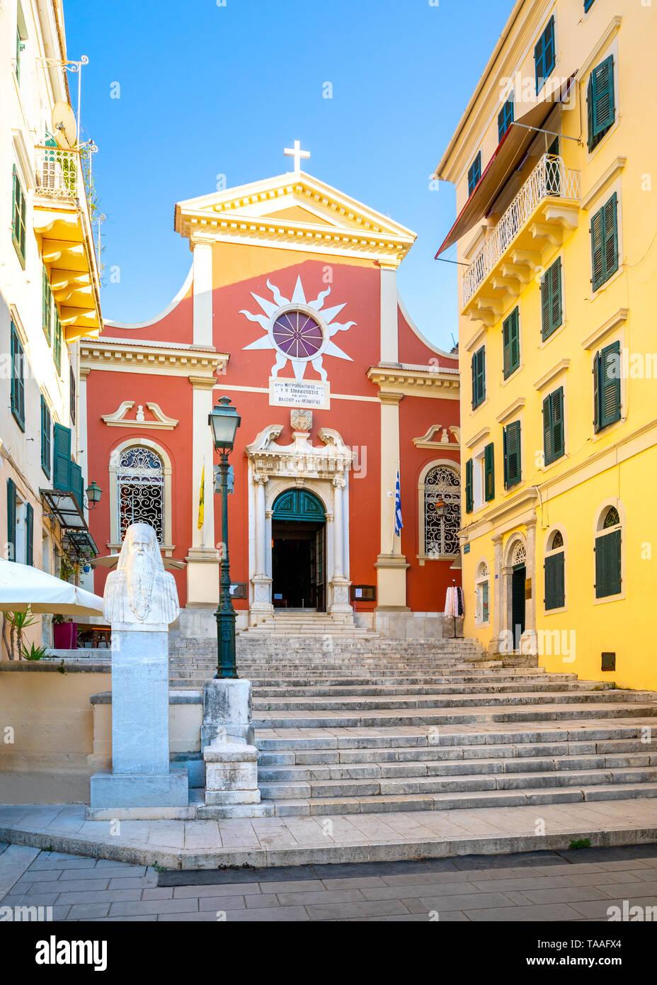 Agios Spyridonas Church Bell Tower, Corfu Old Town, Kerkyra, Corfu, Ionian Islands, Greece - Stock Image