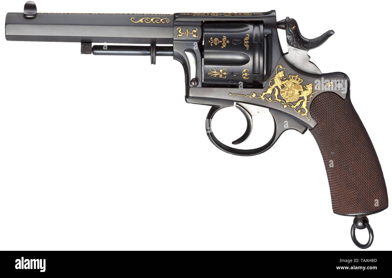 Prince Ludwig Ferdinand - a Miller & Val. Greiss luxury revolver Calibre 11 mm, no. 403. Manufactured by the Munich purveyor to the court Miller & Val. Greiss on the basis of the revolvers by Austrian manufacturer Gasser. Six shots. Double-/single-action trigger. Gate catch on right side of frame. Octagonal barrel. Weapon finished black. Decorations in relief form: King's arms on left side of frame held by two lions. Intertwined on the right initials 'L' and 'F' below crown. Further ornaments on trigger guard and cylinder. On upper side of frame , Additional-Rights-Clearance-Info-Not-Available - Stock Image