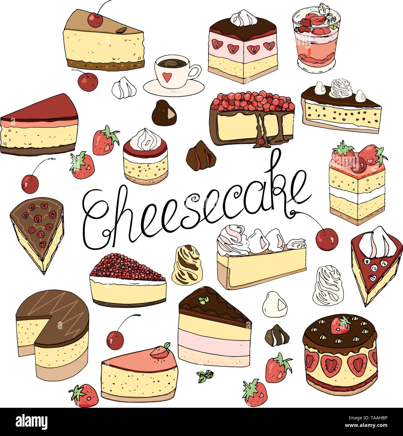 A set of cheesecake consists of elements of cakes and pastries, isolated doodle set design decoration and drawn by hand in the style of naive drawing. - Stock Vector