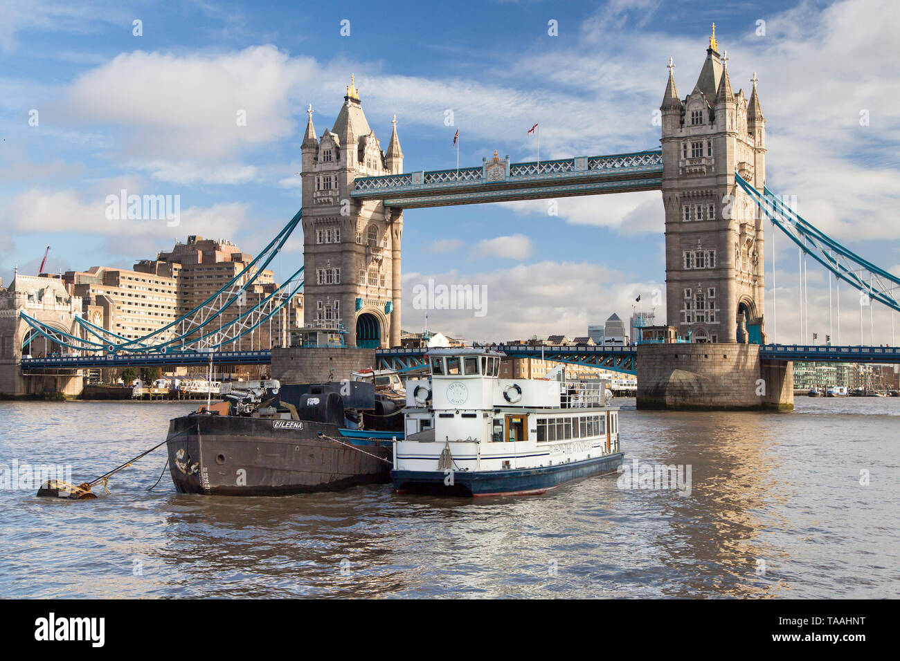 Old waste disposal barge on the Thames, London, United Kingdom. Stock Photo