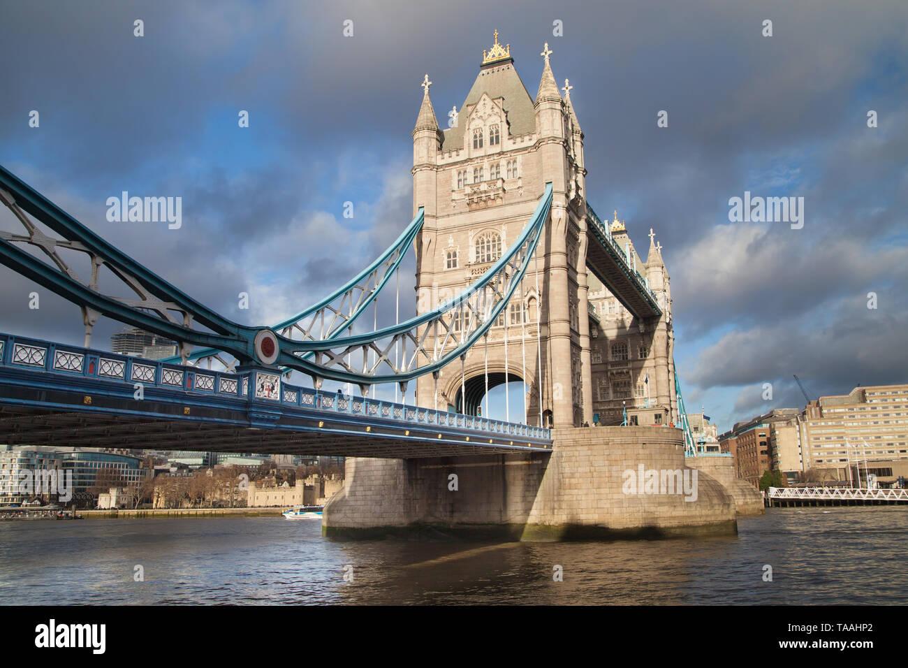 Tower Bridge from the Shad Thames, London, United Kingdom. Stock Photo