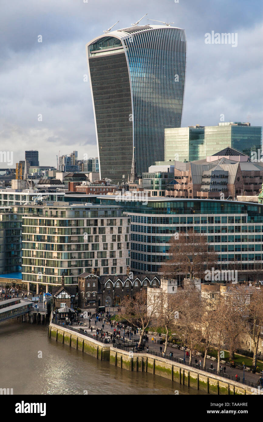 The Walkie Talkie building from the top of the Tower Bridge, London, United Kingdom. Stock Photo