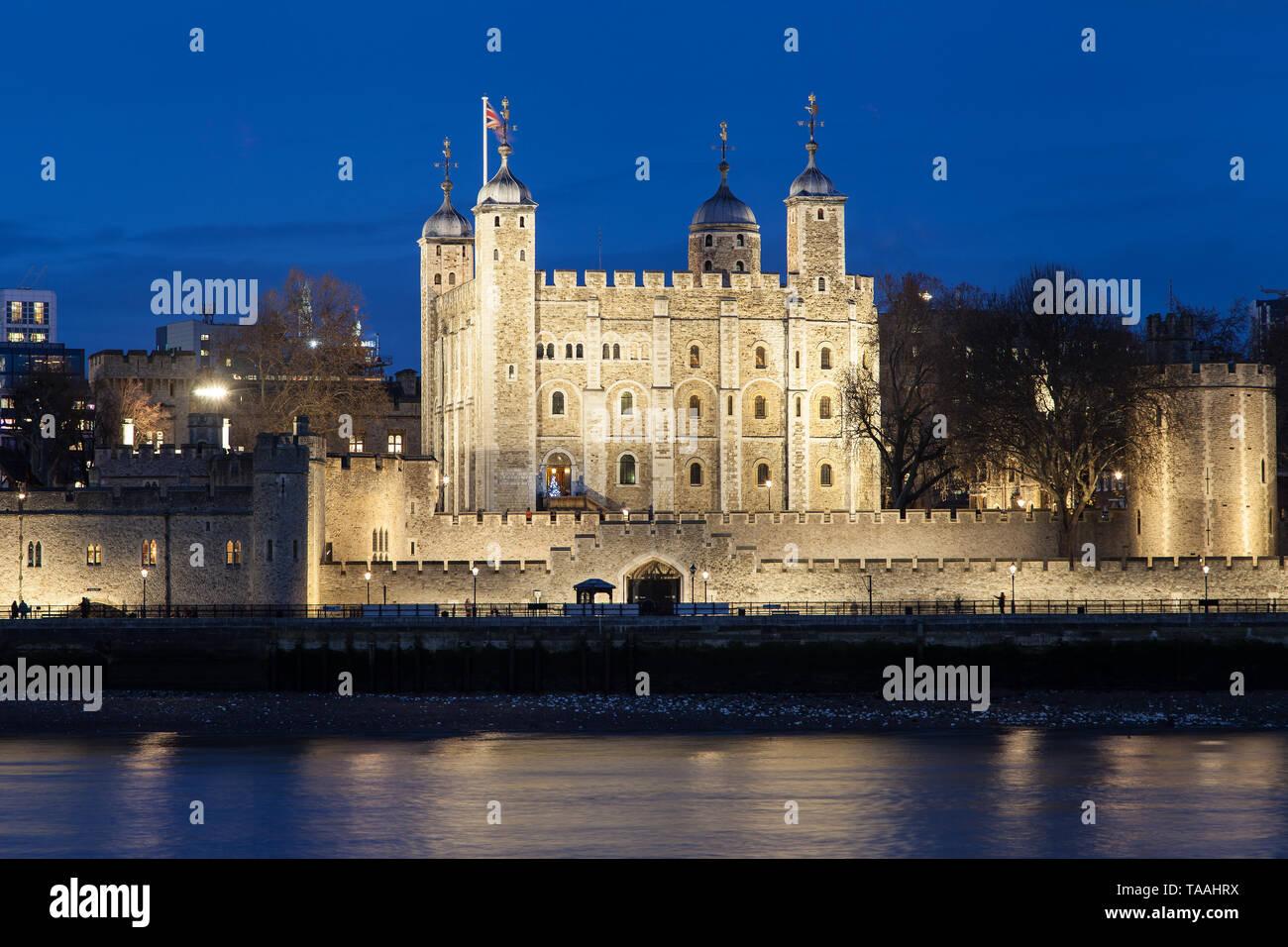 Tower of London at night, United Kingdom. Stock Photo