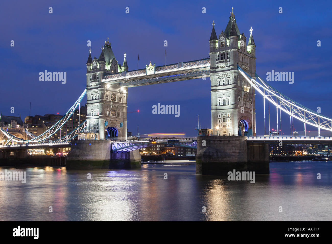 Tower Bridge at night, London, United Kingdom. Stock Photo