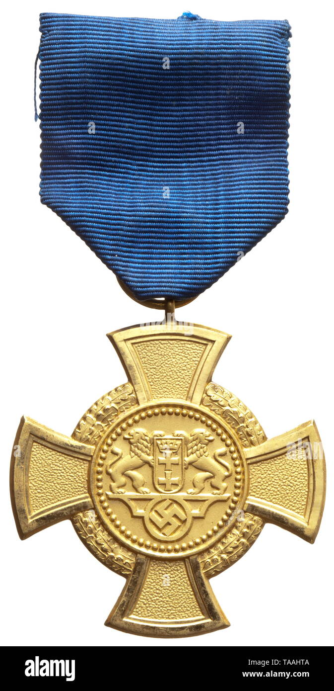 Free City of Danzig - a faithful service decoration in gold (1st class) Cupal, gilt with polished edges, on a blue ribbon for wear. A rare original, as per regulations. historic, historical, awards, award, German Reich, Third Reich, Nazi era, National Socialism, object, objects, stills, medal, decoration, medals, decorations, clipping, cut out, cut-out, cut-outs, honor, honour, National Socialist, Nazi, Nazi period, 20th century, Editorial-Use-Only Stock Photo