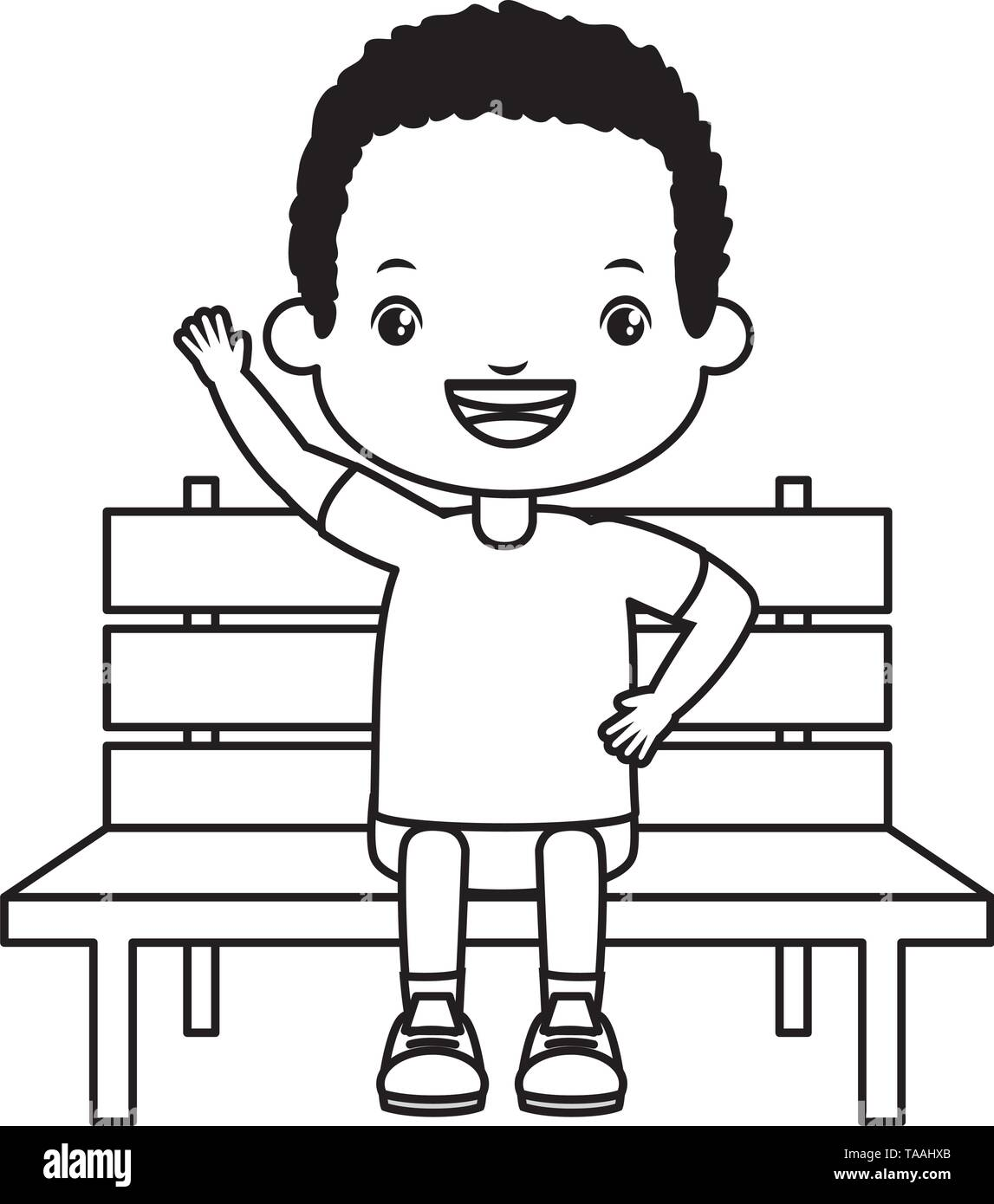 boy sitting on bench - Stock Vector