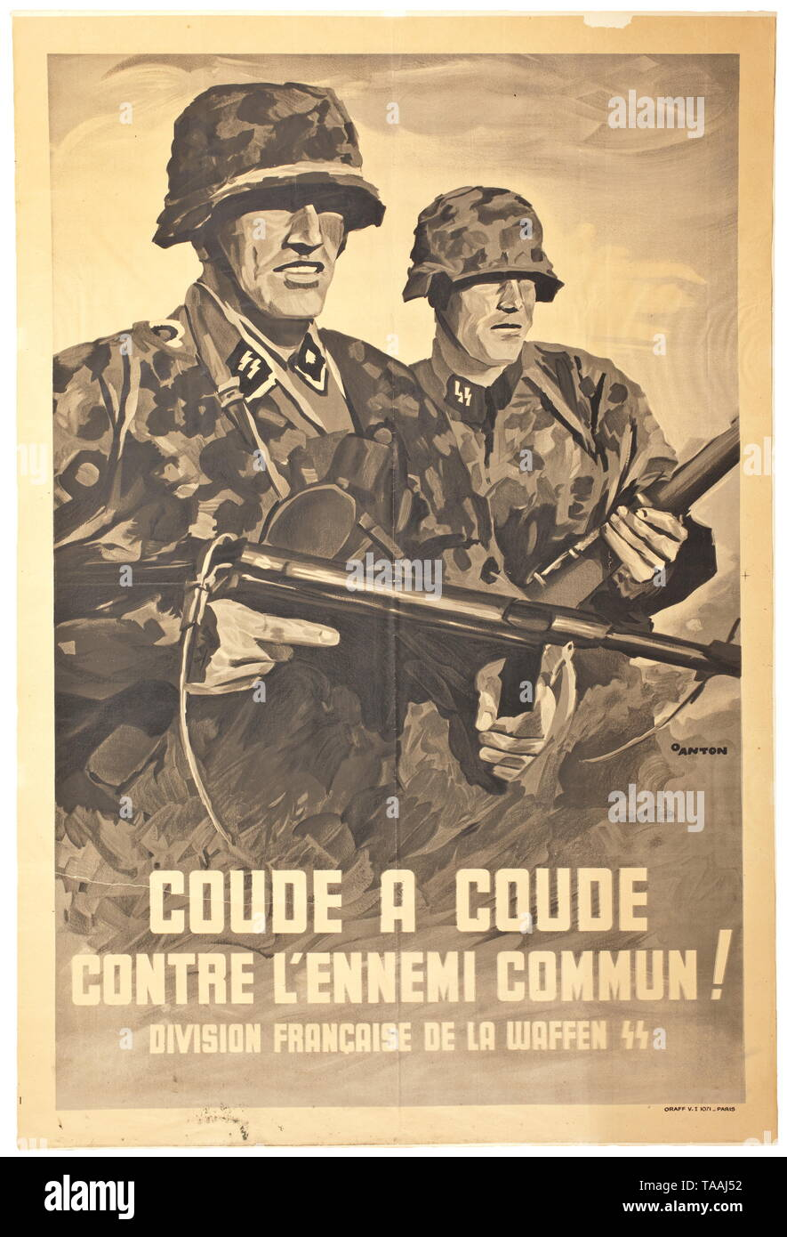 A French propaganda poster advertising the Waffen-SS design by Ottomar Anton (1895 - 1976) historic, historical, 20th century, 1930s, 1940s, Waffen-SS, armed division of the SS, armed service, armed services, NS, National Socialism, Nazism, Third Reich, German Reich, Germany, military, militaria, utensil, piece of equipment, utensils, object, objects, stills, clipping, clippings, cut out, cut-out, cut-outs, fascism, fascistic, National Socialist, Nazi, Nazi period, Editorial-Use-Only - Stock Image