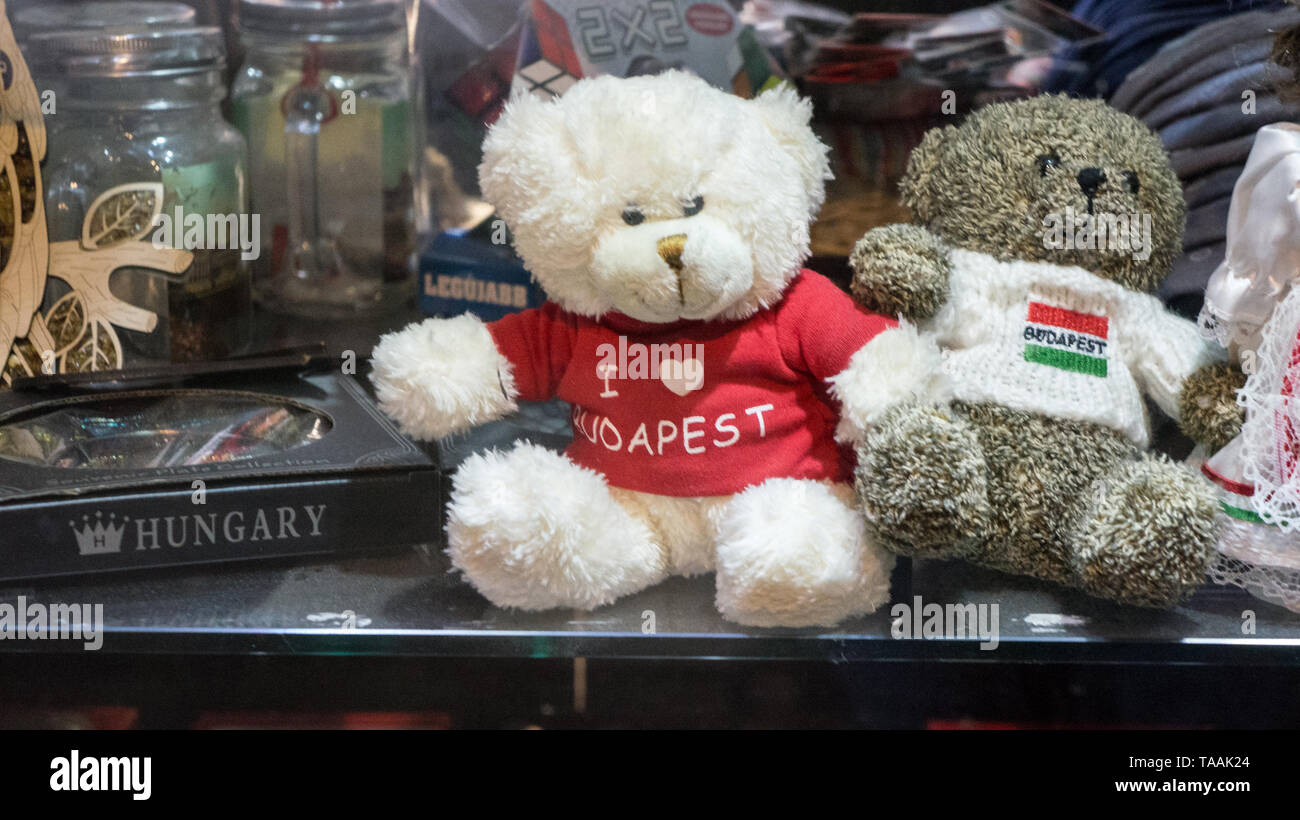 Budapest, HUNGARY 03 15 2019 Dolls dressed in traditional Hungarian costumes. Budapest store showroom. Hungarian souvenirs. - Stock Image