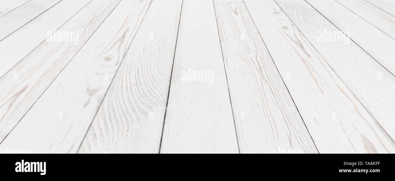 Grunge wood white painted background - Stock Image