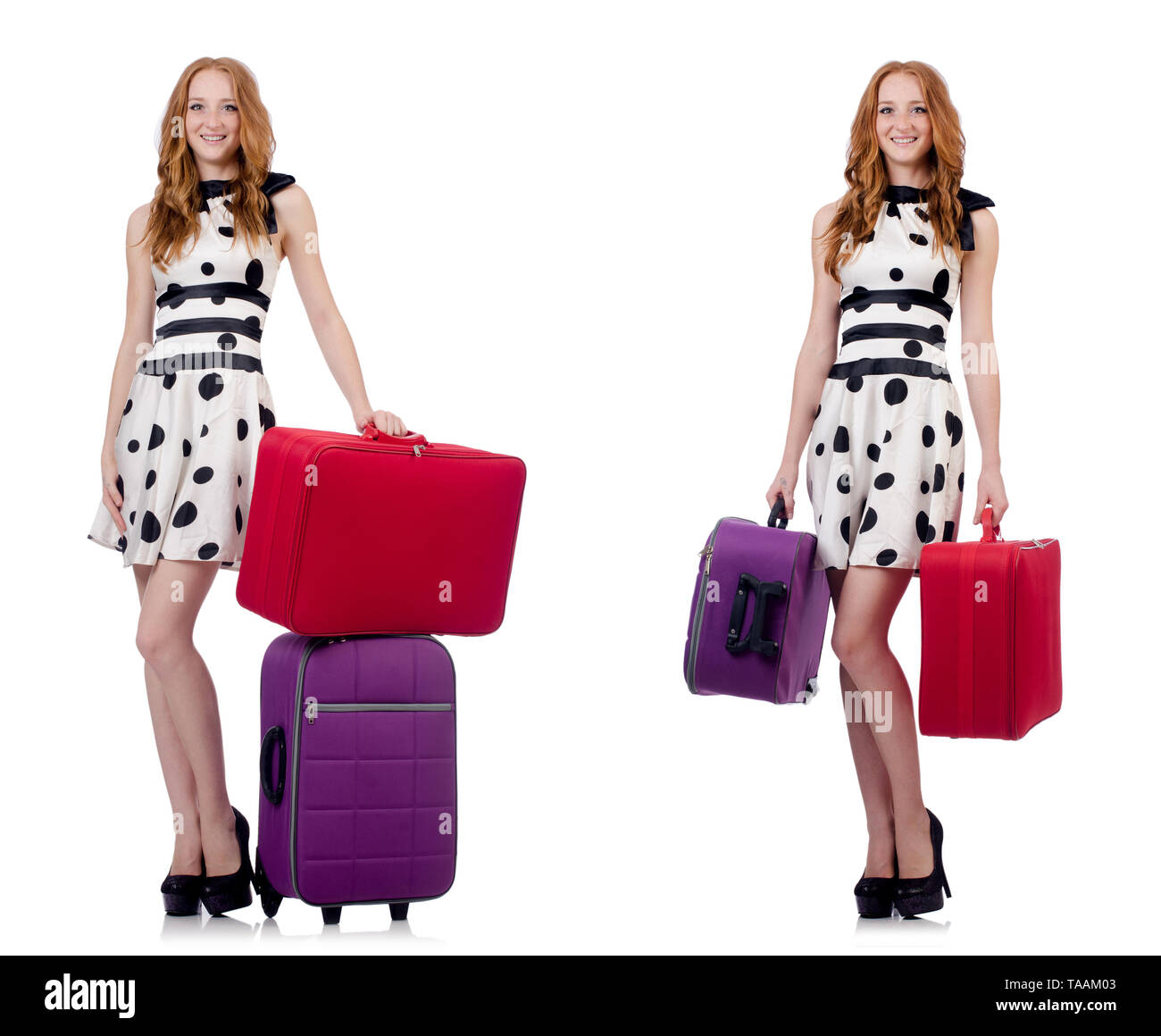 Beautiful woman in polka dot dress with suitcases isolated on white - Stock Image
