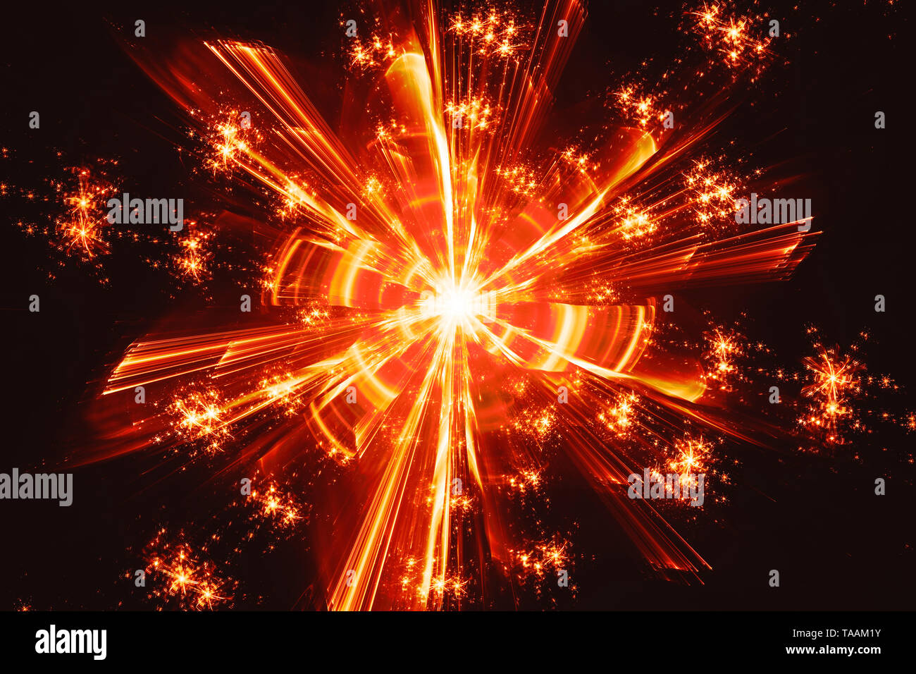Fiery glowing quantum fractal, computer generated abstract background, 3D rendering - Stock Image