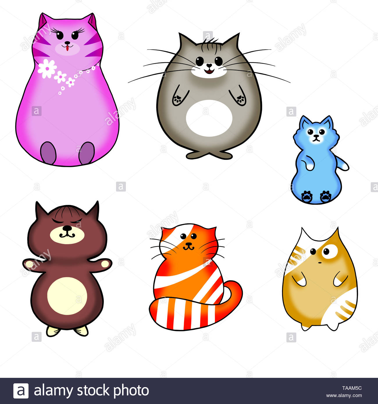 Isolated Six Kawaii Cats on a White Background. - Stock Image