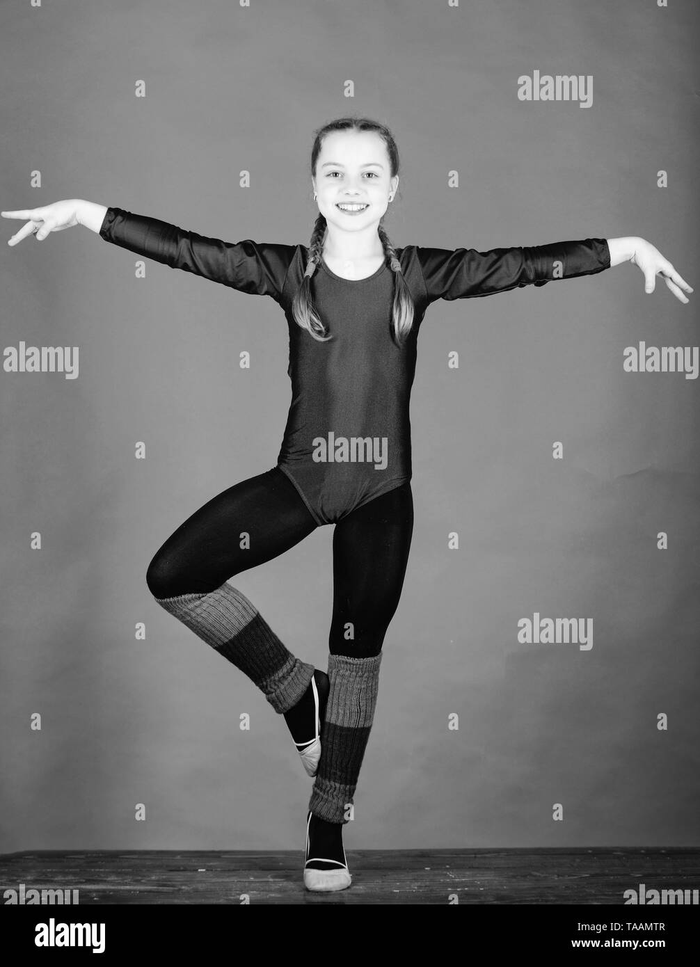 Everything is possible. success. Childhood activity. Fitness diet. Energy. Gymnastics. Happy child sportsman. Sport and health. Acrobatics gym workout of teen girl. Ballet dancer. You can do it. - Stock Image