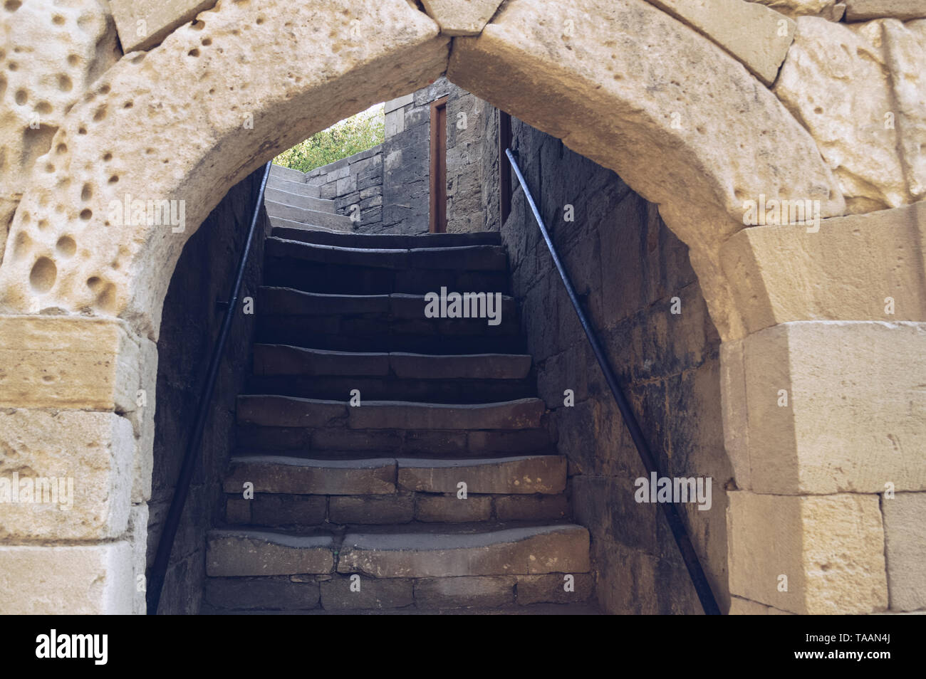 old staircase of shirvanshah palace with arch entrance - Stock Image