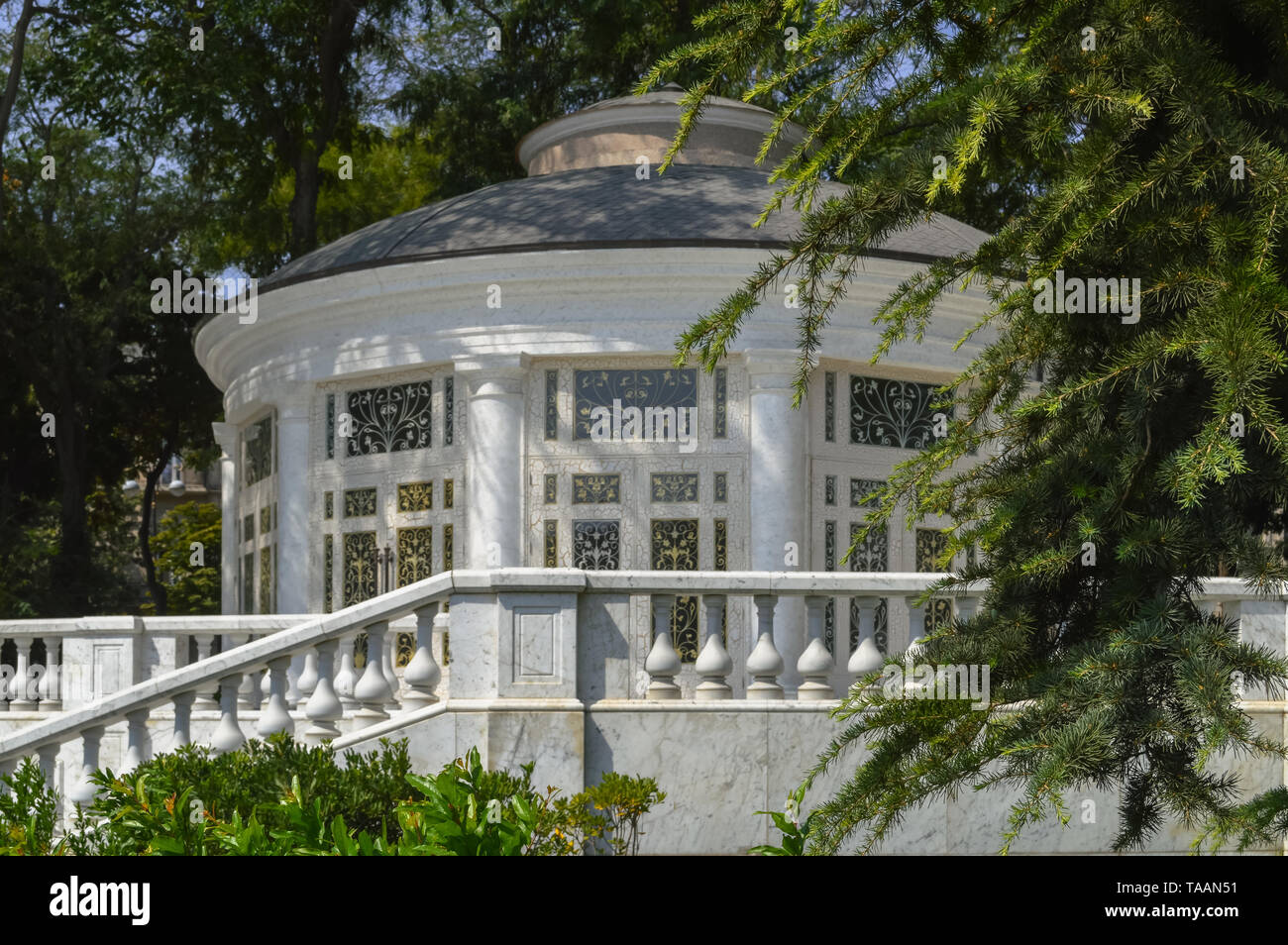 pavilion in Philharmonic Fountain Park in Baku, Azerbaijan - Stock Image