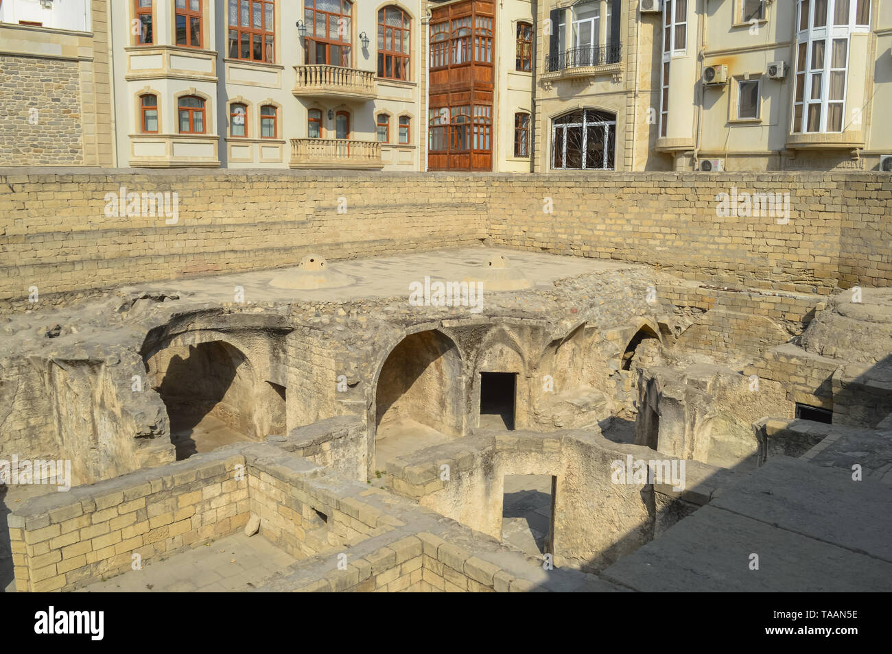 shirvanshah palace bath houses that were found recently and just partly excavated - Stock Image