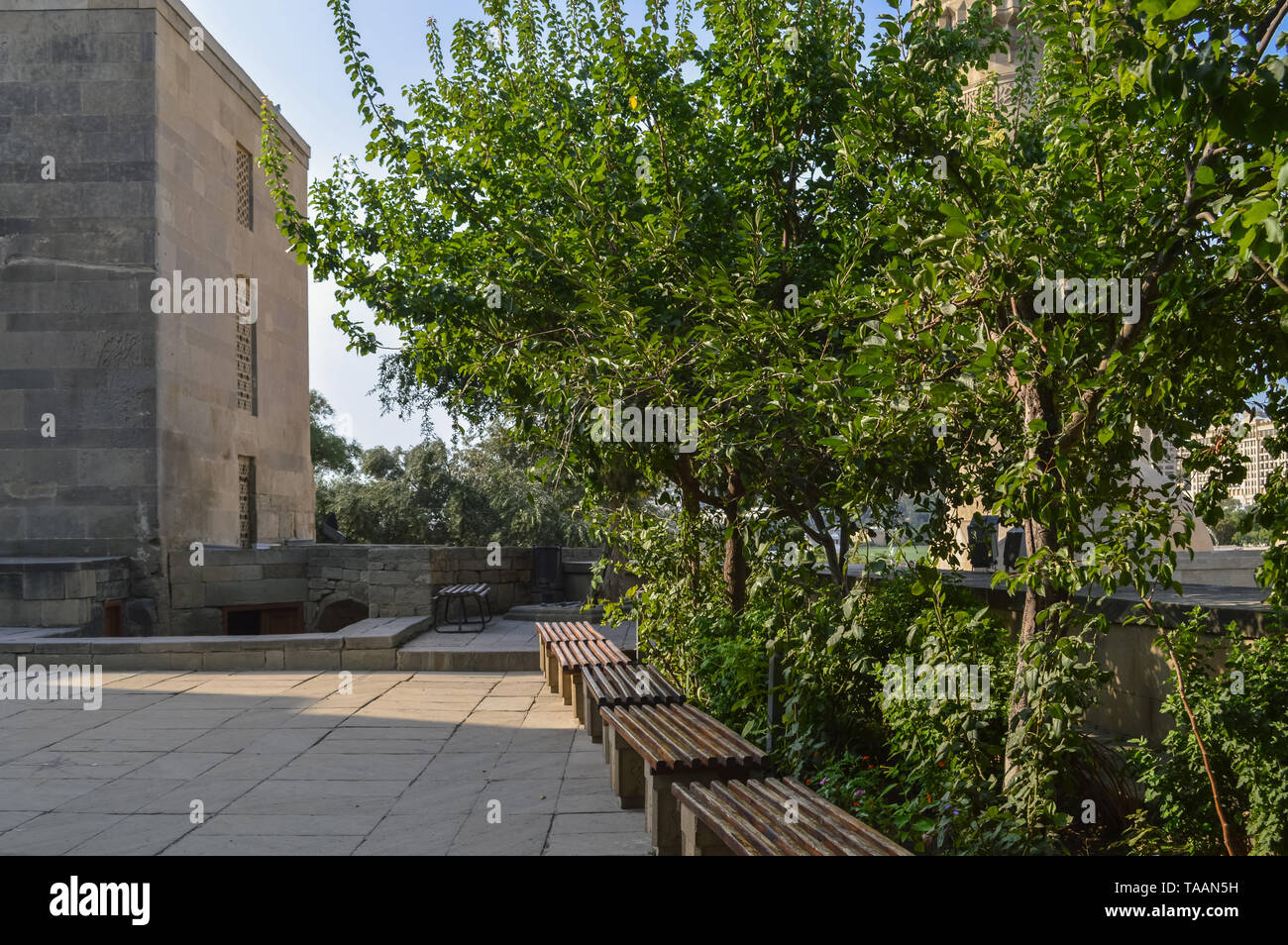 square in front of shirvanshah palace withgreen trees and  benches on suny day - Stock Image