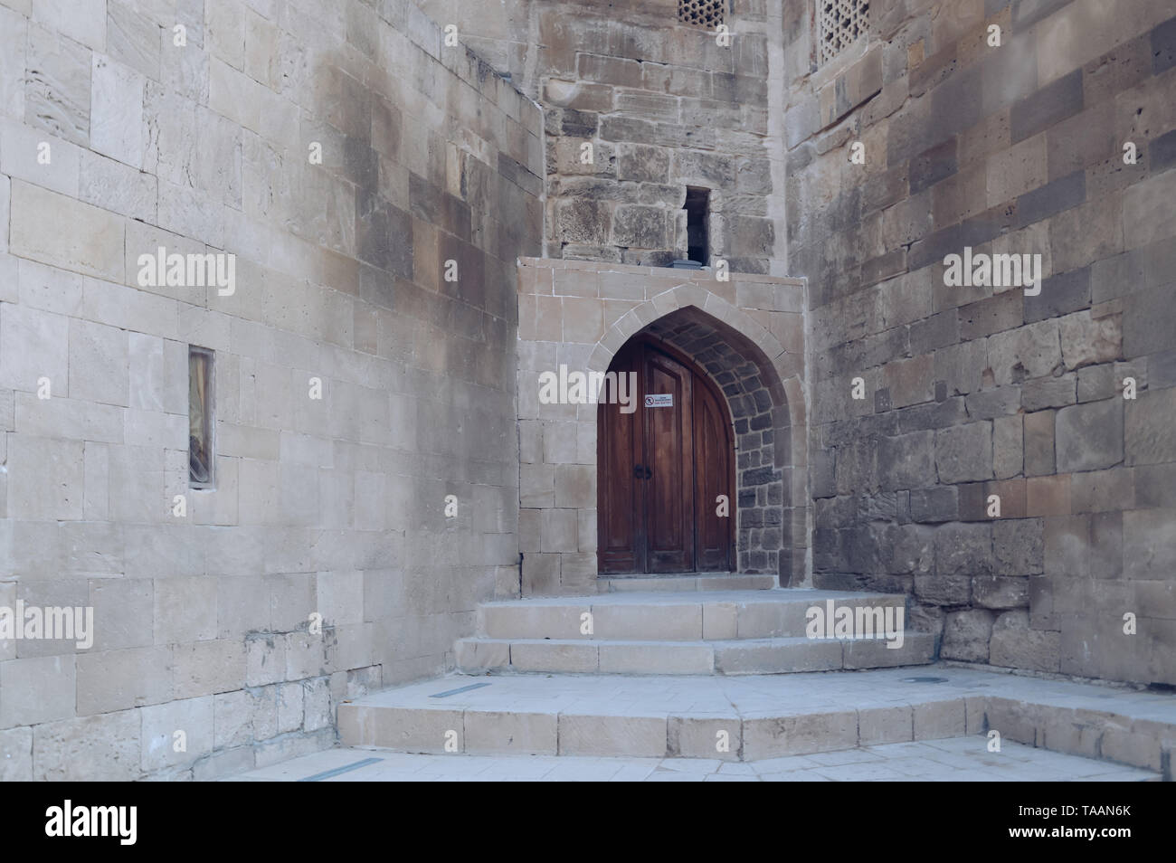 walls and door of shirvanshah palace exterior - Stock Image