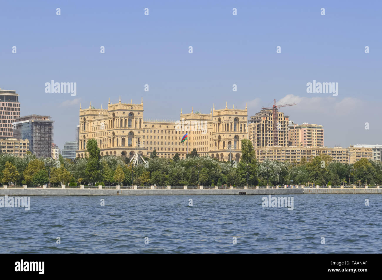View from the Caspian sea on cityscape of Baku with House of Government - Stock Image