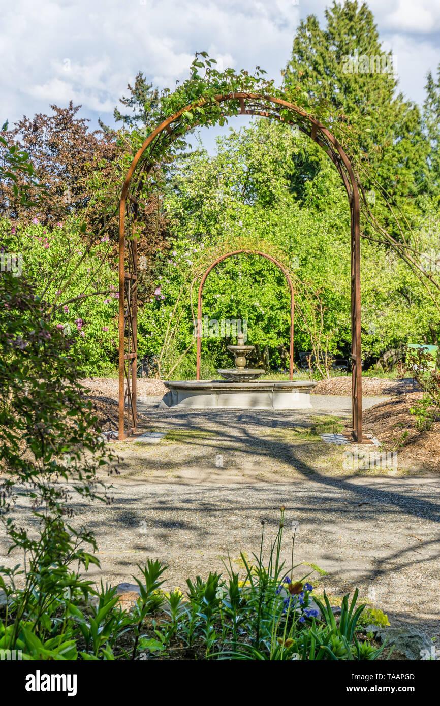 Metal Garden Arbors In Seatac, Washigton Stock Photo ...