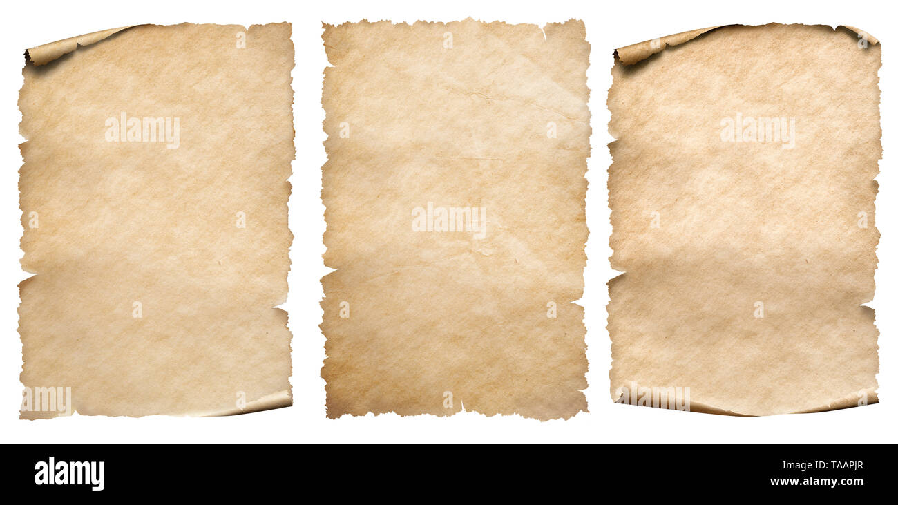 Vintage paper or parchments collection isolated on white - Stock Image